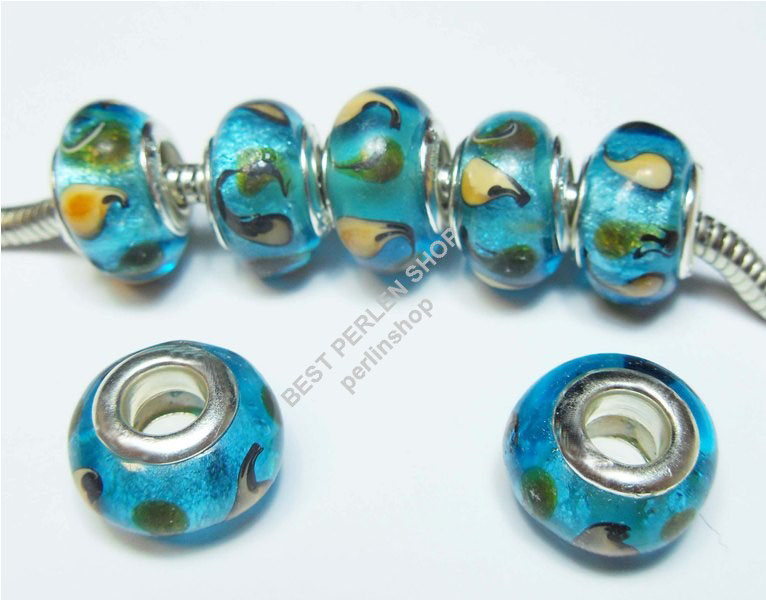 8 lampwork fancy blau european glasperlen gro loch