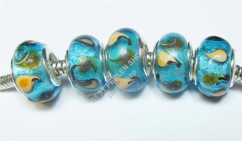 8 lampwork fancy blau european glasperlen großloch