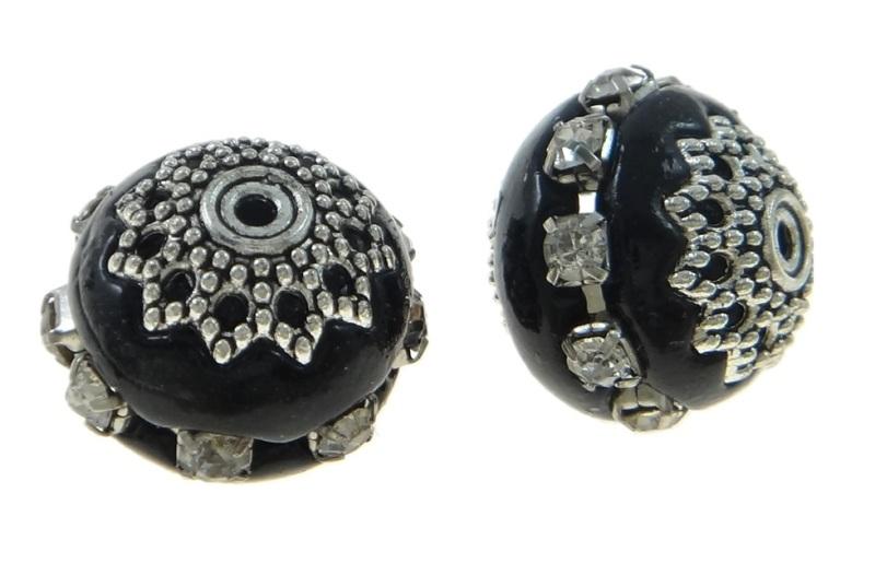5 Indonesische Kashmiri Perle Kugel Blumen 17 x 16 mm schwarz silber blau R129