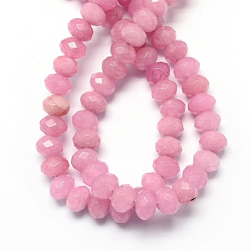 30 Achat Perlen Natural Opak Rosa 4mm Rondell Facettiert