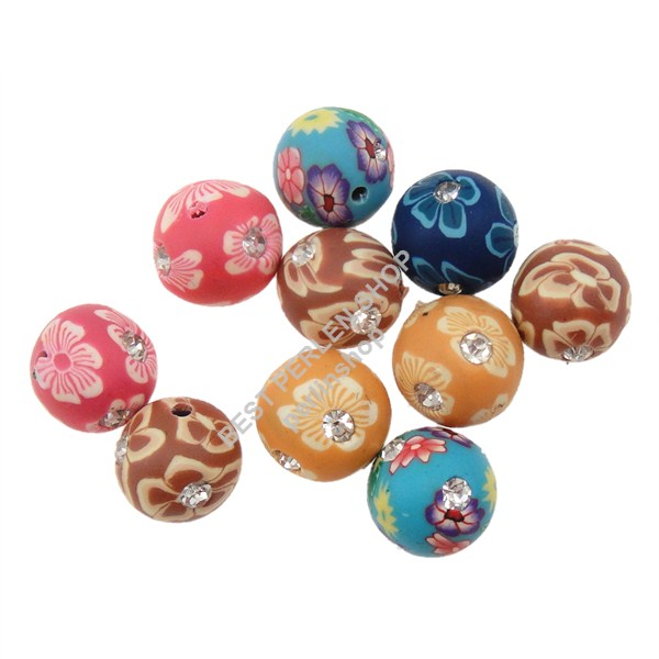 10 polymer clay fimo perlen best mit strass rund bunt 12mm fancy beads r38 ebay. Black Bedroom Furniture Sets. Home Design Ideas