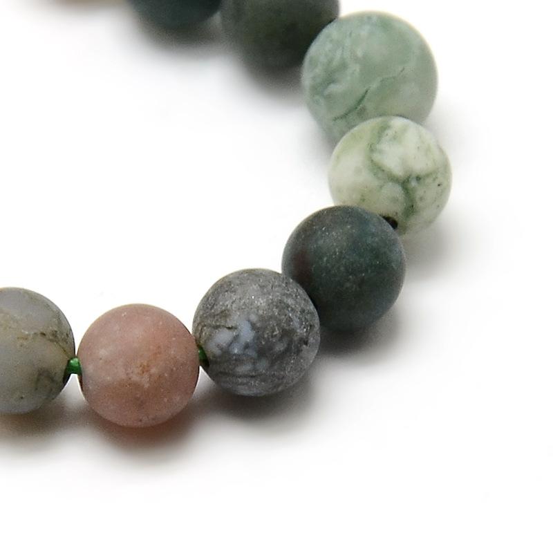 Edelsteine Natürliche Indische Achat Perlen 8mm Frosted Fossil Weiß G762