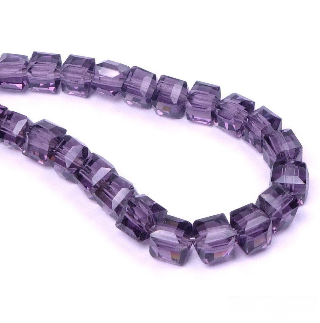 25 Glasperlen Würfel 4mm Violett Tschechische Kristall Perlen Schmuck X179