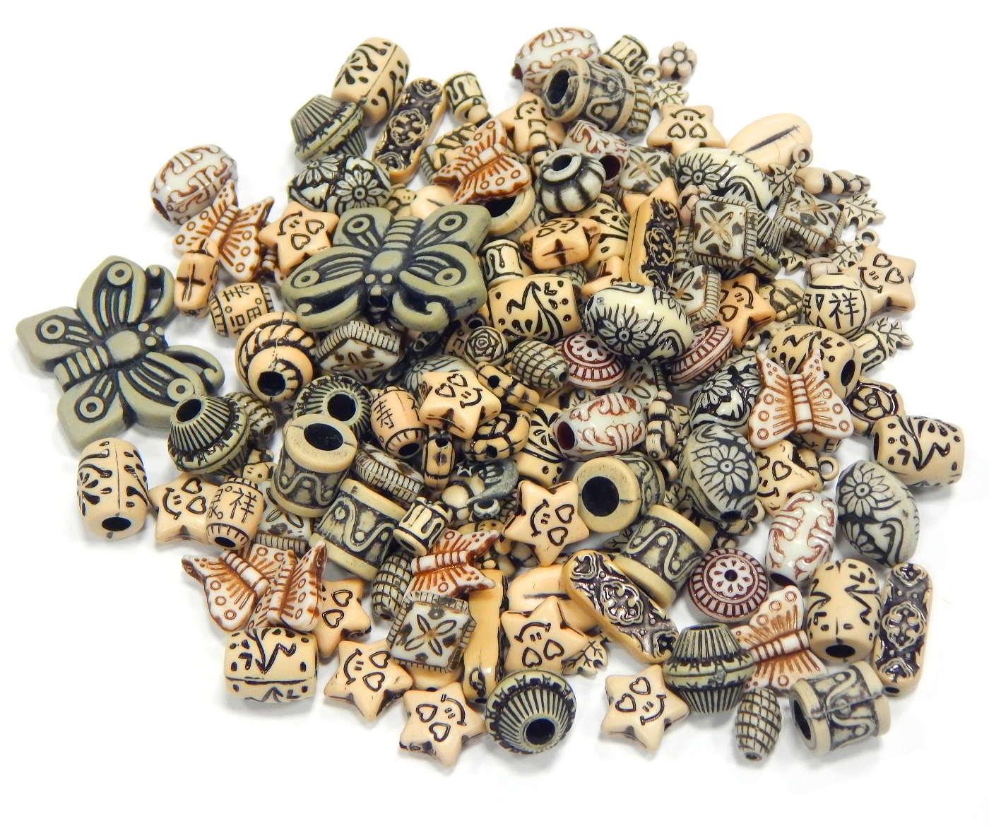 50g Kunststoffperlen Gemisht Tibet Antik Schmuck Acryl Zwischenperlen Mix D121