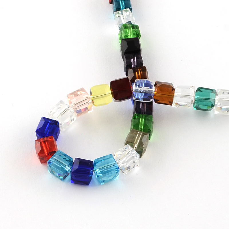 25 cristallo ceco perle preziose Mix Set 4mm cubo perline